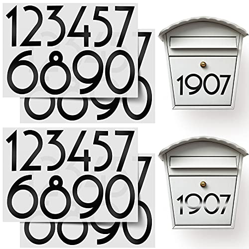 60 Pieces Mailbox Numbers Sticker Reflective Self Adhesive Vinyl Waterproof 0-9 Number DIY Decorations for Mailbox, Sign, Door, Car, Business, Address Number (Black,5 Inch)