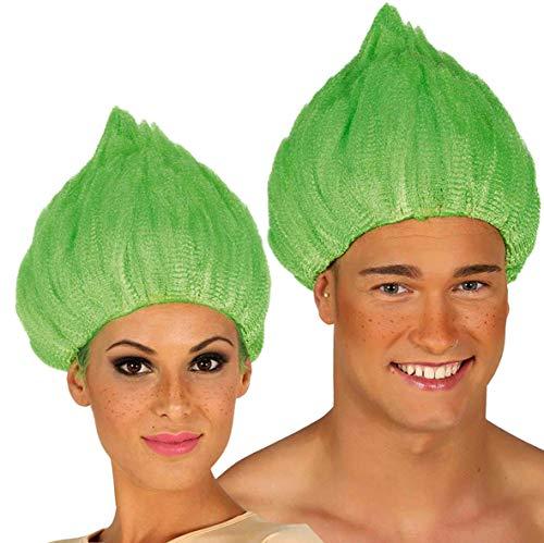 Guirca grüne Perücke Zwerg Kobold Zwergenperücke für Erwachsene grün Karneval Fasching