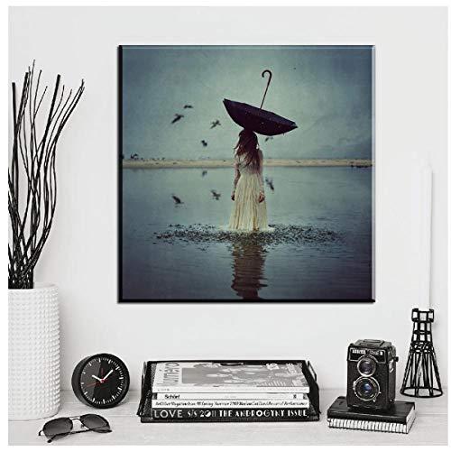 Jwqing Modern canvas mooi meisje in het water met paraplu vogels canvasschilderijen kunst schilderij voor woonkamer slaapkamer (60x60 cm geen lijst)