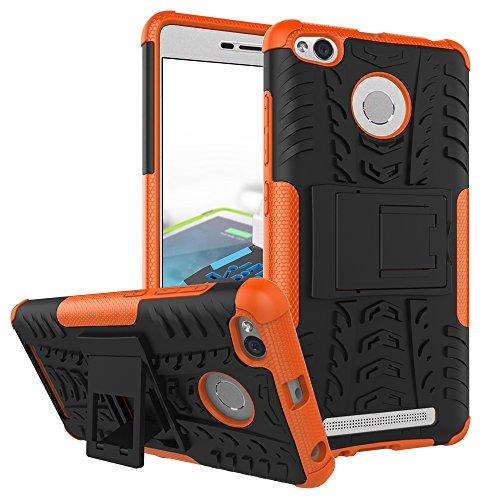 QiongniAN Funda para Xiaomi Redmi 3S,Teléfono con Soporte a Prueba de Golpes Funda para Xiaomi Redmi 3S Carcasa Case Funda Orange