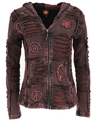 Guru-Shop Goa Patchwork Jacke, Boho Kapuzenjacke, Damen, Dunkelbraun, Baumwolle, Size:XL (44), Boho Jacken, Westen Alternative Bekleidung