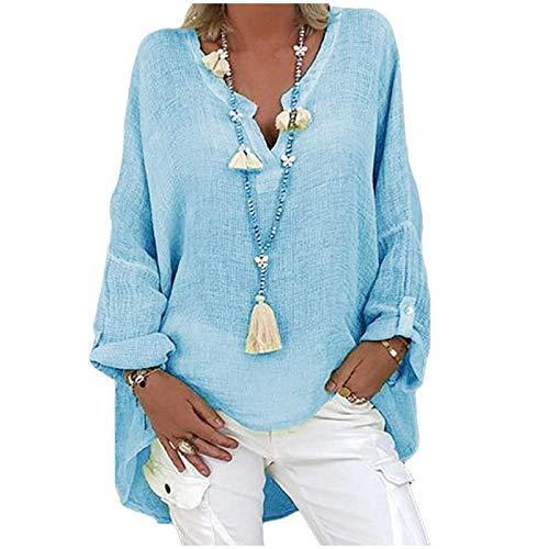 Damen Langarm Bluse Oversize Leinenbluse Elegant Druck Shirt Leinen V-Ausschnitt Longshirt Oberteile Tunika Lose Lang Tops Leinenhemd