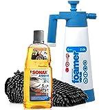 Detailmate Auto Schaum Wasch Versiegelung Set: SONAX XTREME FOAM & SEAL - Schaumversiegelung 1 Liter + Kwazar Venus Super Foamer Cleaning Pro+ 2L Hand Schaumsprüher + Mikrofaser Waschhandschuh