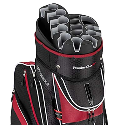 Founders Club Premium Cart Bag with 14 Way Organizer Divider Top (Red and Black)