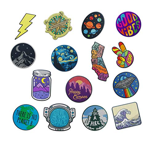 42pcs Embroidered Iron on Patches for Jeans Jacket s Backpacks Clothing DIY Applique Accessories Assorted Size Decoration Patches