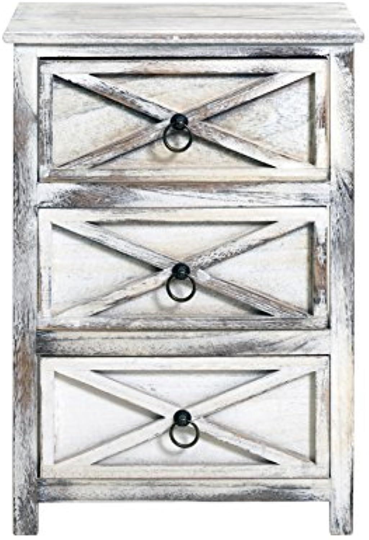 Rebecca SRL Nachttisch Nachtkstchen 3 Schubladen wei Vintage Bad Wohnzimmer Küche (Code RE4135)