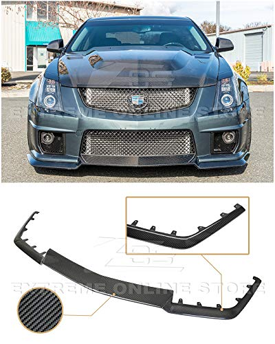 Extreme Online Store for 2009-2015 Cadillac CTS-V Models   Carbon Package Style Carbon Fiber Front Bumper Lower Lip Splitter