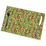 Manteles individuales con estampado de chile rojo, juego de 6 manteles individuales para mesa de comedor, fáciles de limpiar, duraderos, antideslizantes, resistentes al calor, para café (18 'x 12')