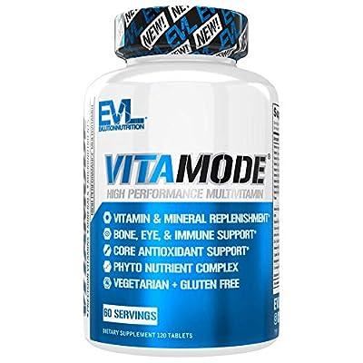 Evlution Nutrition VitaMode High Performance Men's Multivitamin, Full Spectrum Vitamins & Minerals, Immune Health, Vitamin C & D, Zinc, Antioxidants, Skin, Hair, Bone, Eye Health, 120 Tablets, 60 Days