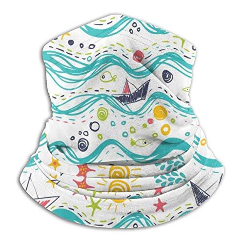 Multifunctional Headwear Face Mask Headband Neck Gaiter A Ship, Sea, Fish and Sun Balaclava for Men and Women