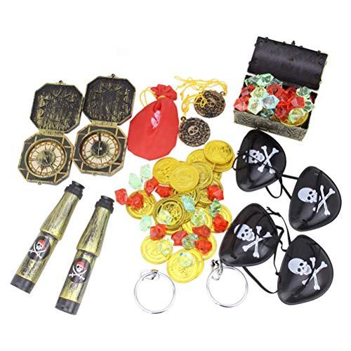 TOYANDONA 60 unids Pirate Treasure Toy Dress Up Props Herramientas Cosplay Costume Gold Coin Mini Cartoon Treasure Box para nios nios