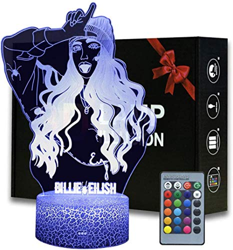 Słynny raper/piosenkarz iluzja 3D lampka nocna, ABS zmieniające się kolory domu i pokoju dekoracja lampa na biurko, idealne pamiątkowe prezenty na Boże Narodzenie (Billie Eilish)
