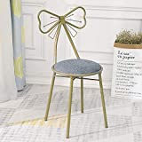 JOYBASE Bow Shaped Vanity Chair, Iron Make Up Leisure Chair, Bedroom Princess Chair, Girls Ladies Creative Makeup Stool with Back Butterfly Bow Tie (Grey)