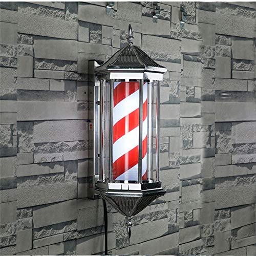 Little Poor 70/85 cm LED-lamp, retro, voor woonkamer, kappersstudio, klassiek teken, witte rode strepen, kappersuitrusting, draaibaar, verlicht, wandlamp
