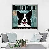 Geiqianjiumai Monopatín Lienzo Pintura Perro Labrador Bulldog Animal póster Arte de la Pared Sala de Estar Dormitorio habitación de los niños Cuadro sin Marco Pintura 60x60cm