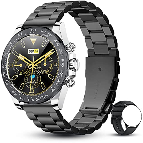 ANMI Reloj Inteligente Hombres, Smartwatch 1.28 Pulgadas Táctil Completa 3ATM, Pulsera de Actividad Deportivo Pulsómetro Monitor de Sueño, Control de Musica para Hombre Mujer Adolescentes(Negro) ⭐