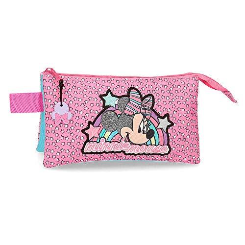 Disney Estuche Minnie Pink Vibes Tres Compartimentos Rosa