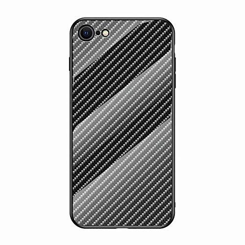 Miagon Glas Handyhülle für iPhone 7/8,Kohlefaser Serie 9H Panzerglas Rückseite mit Weicher Silikon Rahmen Kratzresistent Bumper Hülle für iPhone 7/8,Schwarz