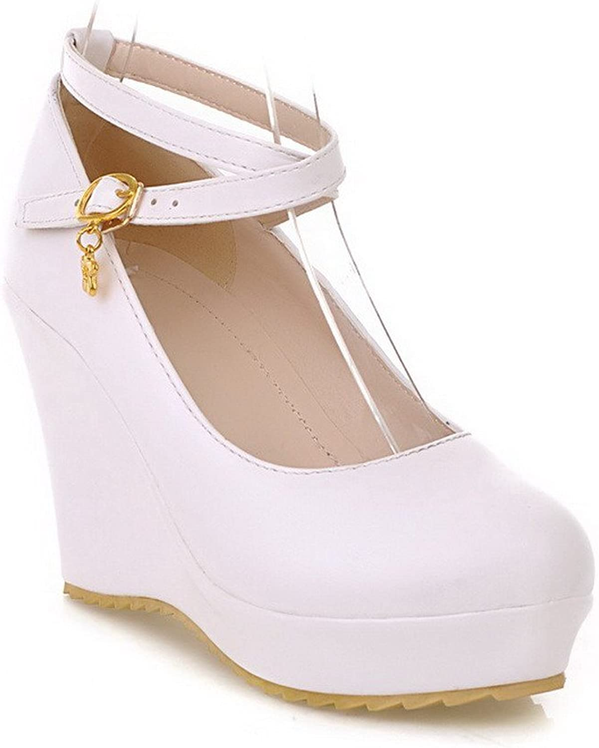 WeiPoot Women's Solid Round Closed Toe Soft Material PU Pumps-shoes, White, 38