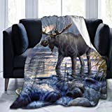 xianjing Fleece Throw Blanket, Moose Warm Soft Microfiber Blankets, Lightweight for Couch, Bed, Sofa All Seasons