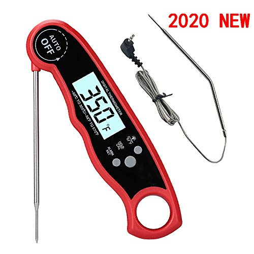 ORDORA Digital Meat Thermometer Oven Safe with Dual Probe, Instant Read Food Thermometer with Backlight, Magnet, Auto Calibration for Indoor & Outdoor Cooking, BBQ, Grill, Kitchen, Milk, Turkey