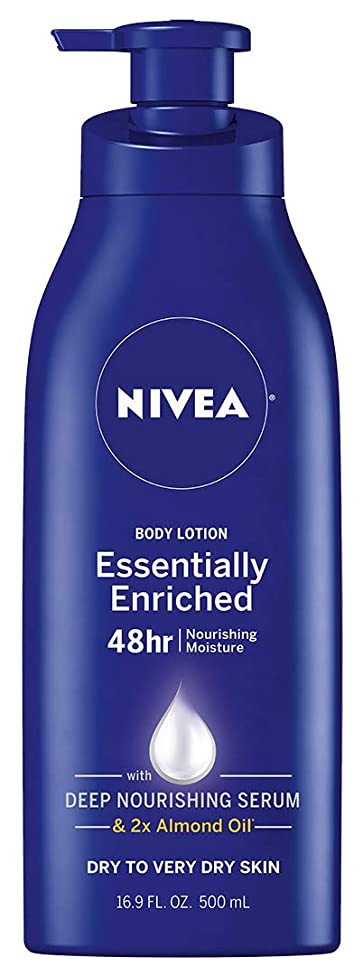NIVEA Essentially Enriched Body Lotion - 48 Hour Moisture For Dry to Very Dry Skin - 16.9 oz. Pump Bottle
