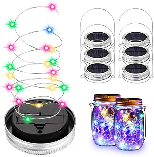Pack of 6 Solar Mason Jar Lights, 20 LED String Fairy Firefly Lights Lid Glass Lights with 6 Hangers Solar Lanterns Table Lights for Wedding Christmas Decoration, (Glasses Not Included) (Colourful)