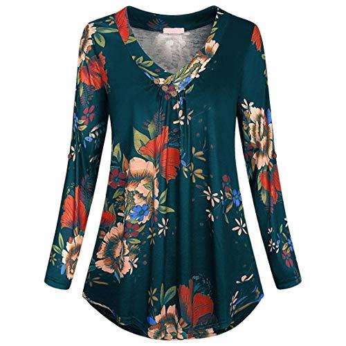 PAOMO Damen 3/4 Ärmel Shirt mit Bündchen Lässige V-Ausschnitt Plissee Fließend...