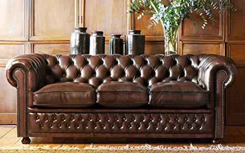 JVmoebel Sofá de piel antigua, estilo Chesterfield, 3 plazas, tapizado