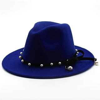 SGJFZD Fashion Women's Men's Wool Fedora Hat with Punk Rivet Elegant Lady Church Autumn Party Hat Bowknot Fascinator Hat Size 56-58CM (Color : Blue, Size : 56-58)