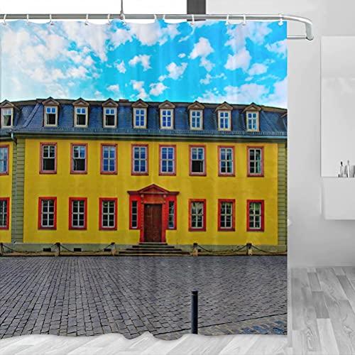 Deutschland Goethe House Frankfurt Duschvorhang Reise Badezimmer Dekor Set mit Haken Polyester 183 x 183 cm (YL-02365)