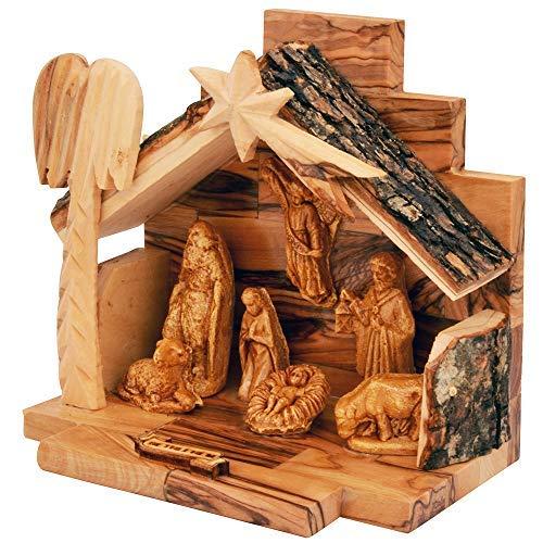 Olive Wood Nativity Set with Figurines | The Jerusalem Gift Shop | Bark Roof Stable | Made in Bethlehem