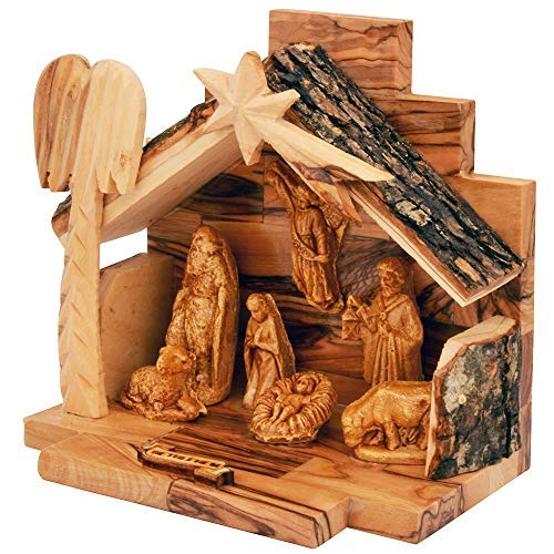 The Jerusalem Gift Shop Olive Wood Nativity Set with Figurines Bark Roof Stable | Made in Bethlehem with