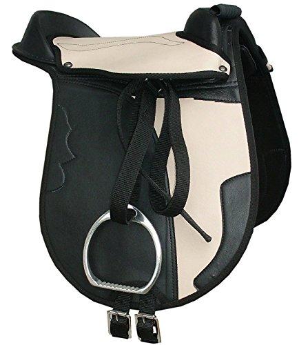 AMKA Kinder Pony Reitkissen Set Juna schwarz/beige 12 mit Steigbügel, Steigbügelriemen und Sattelgurt auch für Holzpferde geeignetes Sattelset