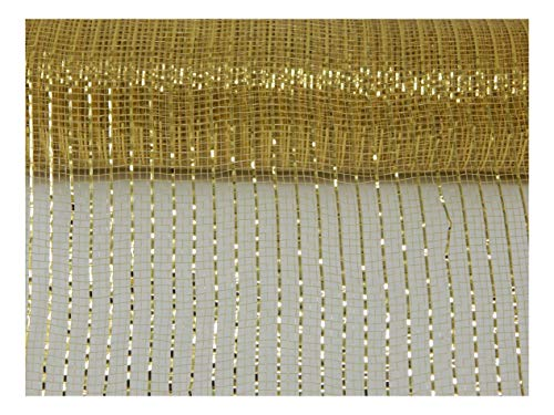 Floral Supply Online - 10 inch x 30 feet Metallic Deco Poly Mesh Ribbon. The Exclusive Metallic Mesh with A Unique Touch of Color and Sparkle. (Gold)