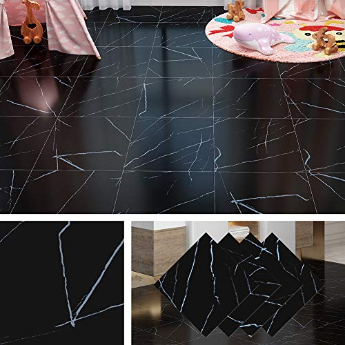Livelynine Peel and Stick Floor Tile 12X12 Inch Adhesive Vinyl Flooring Black Marble Tile Sticker Waterproof Flooring for Rentals Home Kitchen Bedroom Bathroom Flooring Laminate Linoleum Tiles, 4 Pack