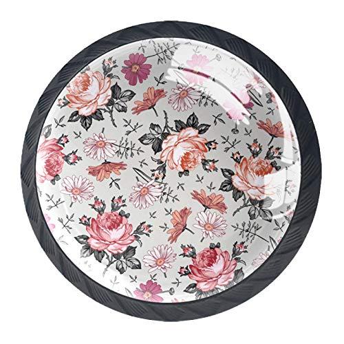 Tiradores de cajón para decoración de armario de cocina de oficina en casa,Patrones Sin Fisuras Hermosa Rosa Floreciente Realista