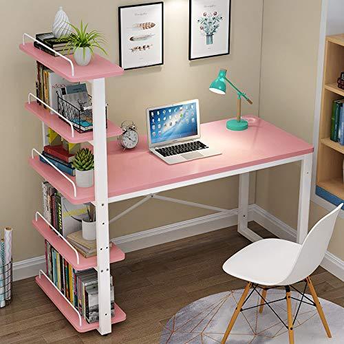 Barhe Holzschreibtisch Computertisch mit Regal, Schreibtisch, Holz Eiche Hell, Winkelkombination, Arbeitstisch, Bürotisch, Computertisch, Eckschreibtisch, Kinderschreibtisch Weiß,Pink+White Frame