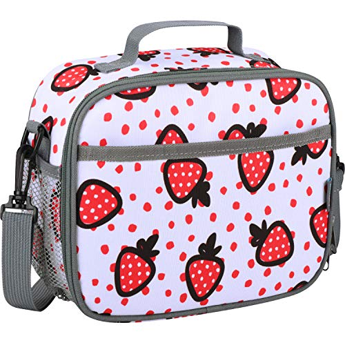 Momcozy Kids Lunch Bags for Girls, Insulated Lunch Kit for School and Travel, Compatible with Most Kids Lunch Box like Bentgo, DaCool, Bento, etc.(Strawberry)