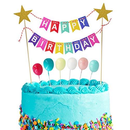 Dorado BETOY Happy Birthday Cake Topper Cake Paper Fan Balloon Acrylic Cupcake Topper para Decorations Suministros para Fiestas