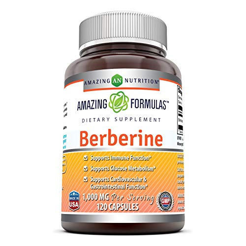Amazing Formulas Berberine 500mg (1000mg Per Serving) 120 Capsules - Supports Immune Function, Cardiovascular & Gastrointestinal Function