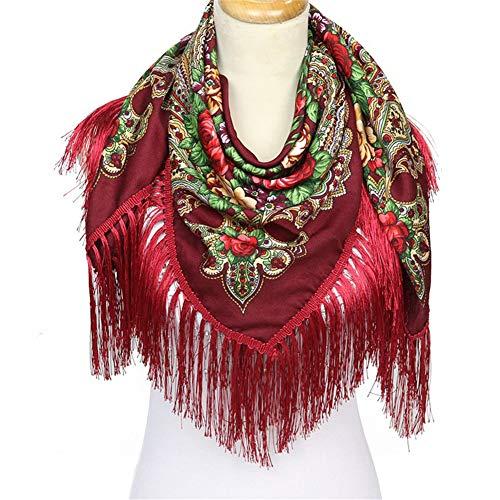 CASEY-L Eingesäumter großer quadratischer Schal, Baumwollbaumwollwinter-Warmer Schal-Nationale Windschal-russische Art-Schal-Dekoration Red