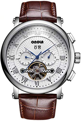 Hombres s moda reloj casual automático mecánico reloj de cuarzo volante de acero inoxidable negocios deporte correa de cuero adecuado para negocios D-D