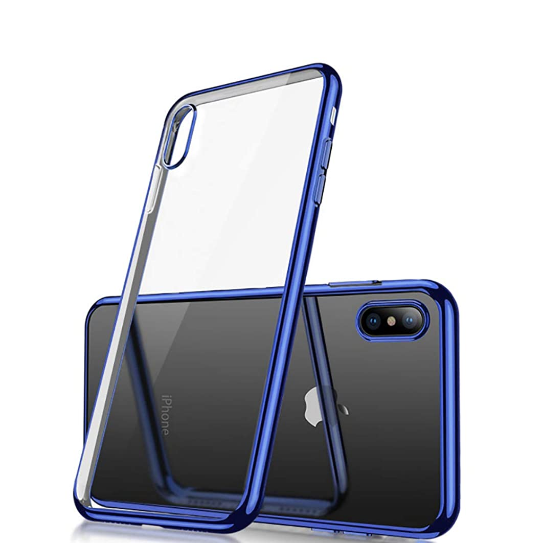 iPhone Xs max Case, Crystal Soft Cover Case with Electroplated Frame, Ultra-Thin Clear Soft TPU Plating Shockproof Protective Cover (Royal Blue, iPhone Xs Max(2018))