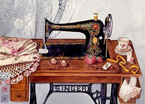 Diy olieverfschilderij van nummers kits thema digitale olieverfschilderij canvas kits voor volwassenen kinderen kinderen-vintage naaimachine 16x20 inch (geen frame)