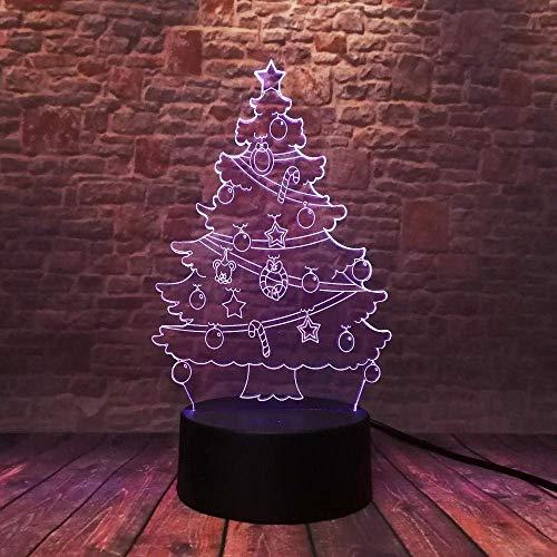 Warme Kerstmis kerstboom klok ster beer paraplu 3D 7 kleuren dimmen gradient LED nachtlampje kind familie vrienden geschenken