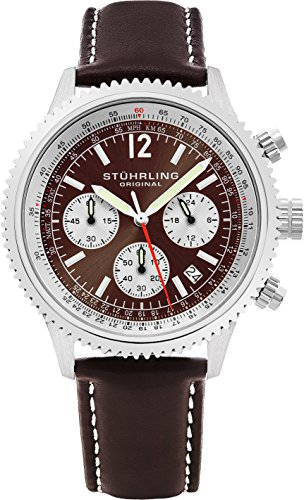 Stuhrling Original Men's 669.03 Monaco Analog Japanese Quartz Brown Genuine Leather Watch