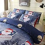 HOHH - Juego de 3 fundas de edredón para cama doble, diseño de Papá Noel en 3D, cierre de cremallera, 200 x 200 cm, color azul y blanco (XY, D), Navidad, 4, 150 x 200 cm