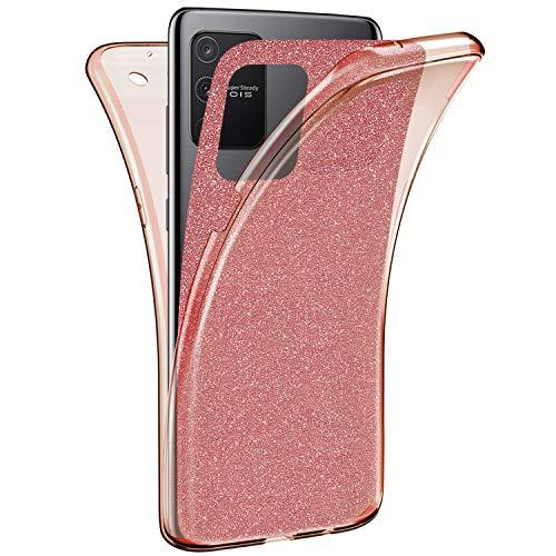 Herbests Kompatibel mit Samsung Galaxy S10 Lite Hülle 360 Grad Full Body Cover Transparent TPU Silikon Hülle Vorne und Hinten Handyhülle Glänzend Glitzer Bling Durchsichtige Tasche Case,Rose Gold