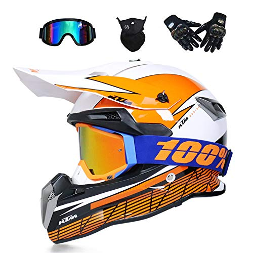 VOMI Casco de motocross, negro y azul, juego de casco de motocross con gafas/máscara/guantes, moto todoterreno, ATV, MTB, BMX, quad, Enduro, Downhill, casco de moto para hombre y mujer, marrón, S